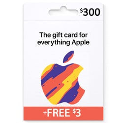 Apple iTunes $300 Gift Card - USA + Free $3 (iTunes Gift Cards)